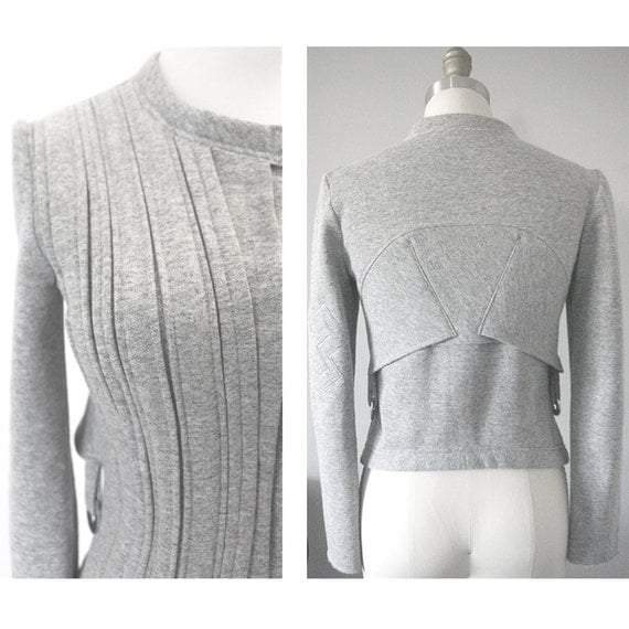 Structured Fleece Moto Jacket in Heathered Gray Cotton Poly Sweatshirt Fleece