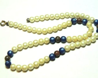 Pearl Necklace White Blue Brown Beaded Necklace Vintage Jewelry