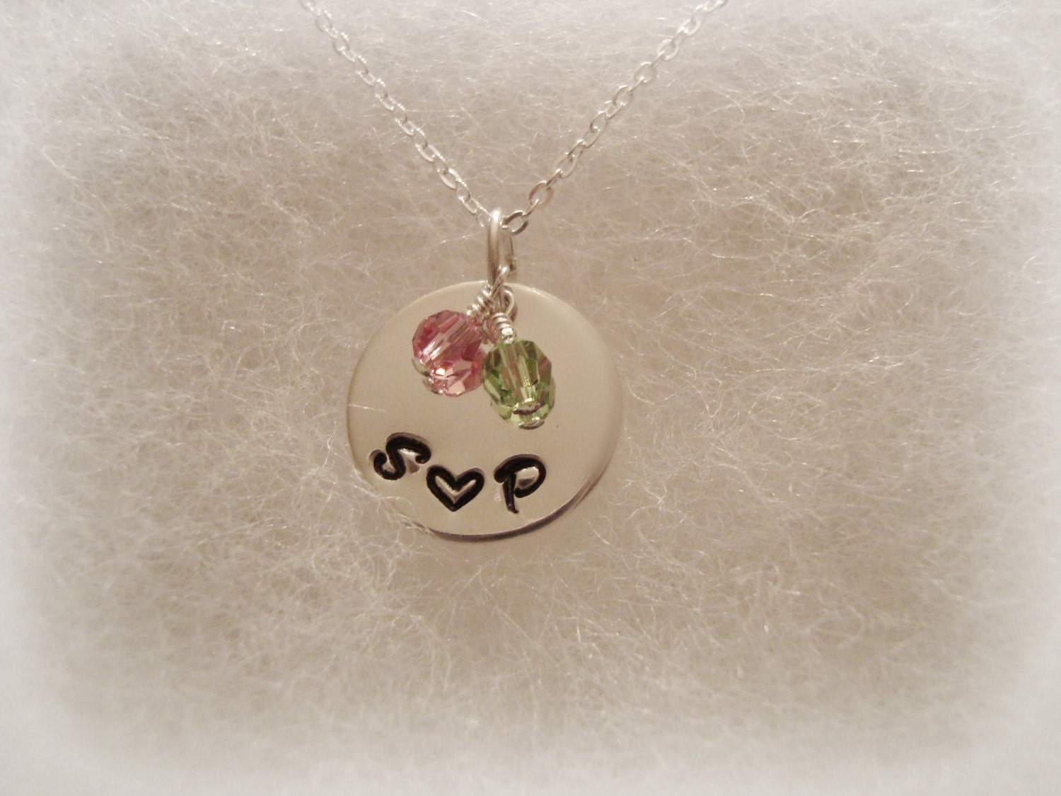Sterling Silver Hand Stamped Initials and Heart Necklace with Swarovski Crystals