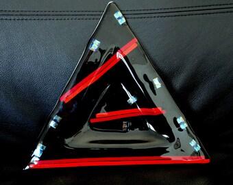 Vintage Multicolor Modern Design Triangular Art Glass