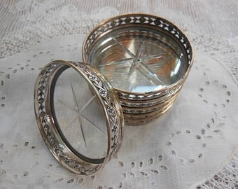 6pc Vintage Set Birks Sterling Band Coasters with Star Etched Glass Bottom