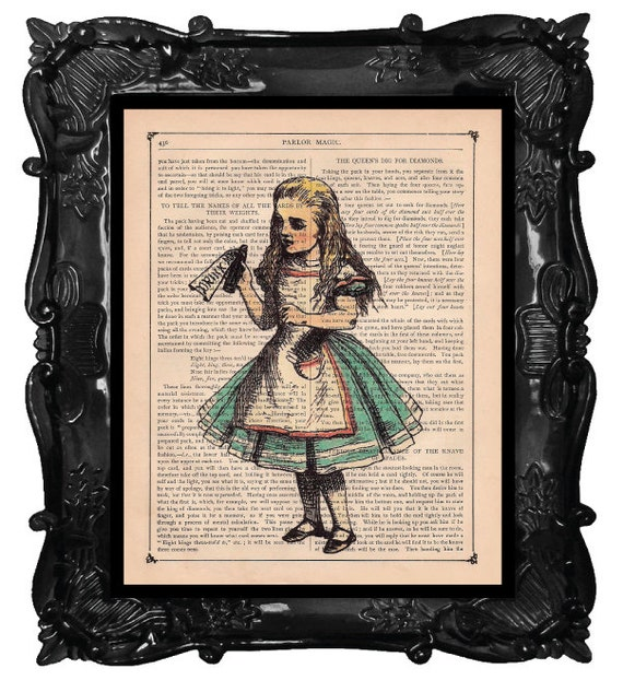 ALICE in wonderland Art - Drink me illustration - Alice in wonderland Home Décor antique book page or music page dictionary print