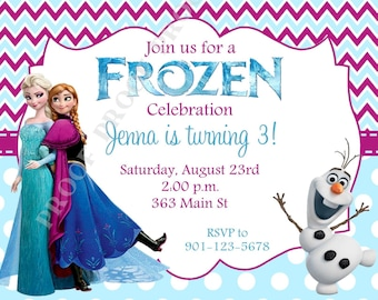 10 PRINTED Frozen Invitations with Envelopes.  Free Return Address Labels