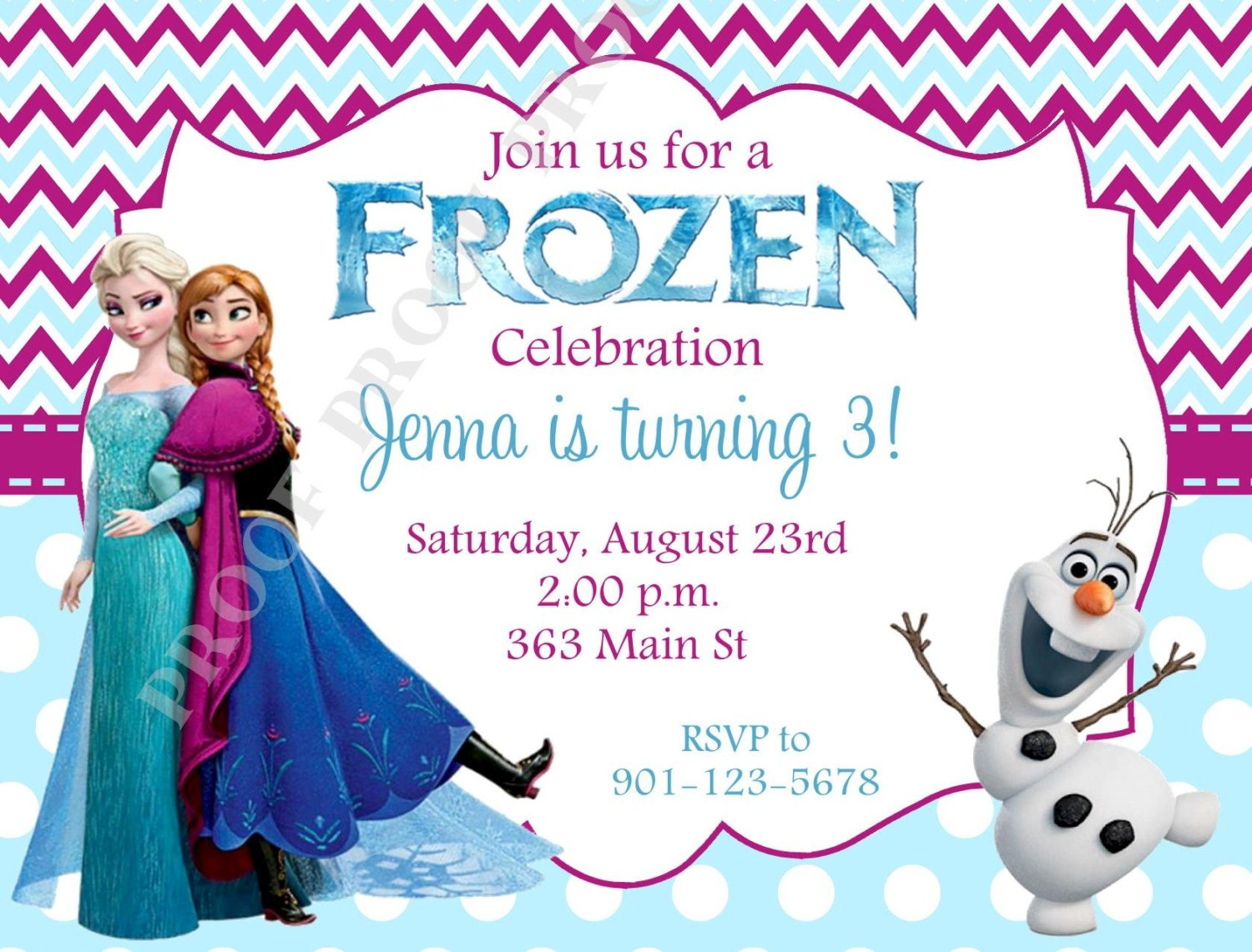 10 Printed Frozen Invitations With Envelopes Free Return
