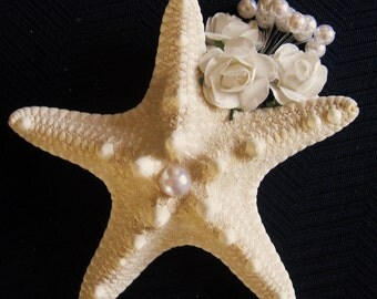 Groom's Starfish Boutonniere with Pearl Clusters and Handmade Flowers