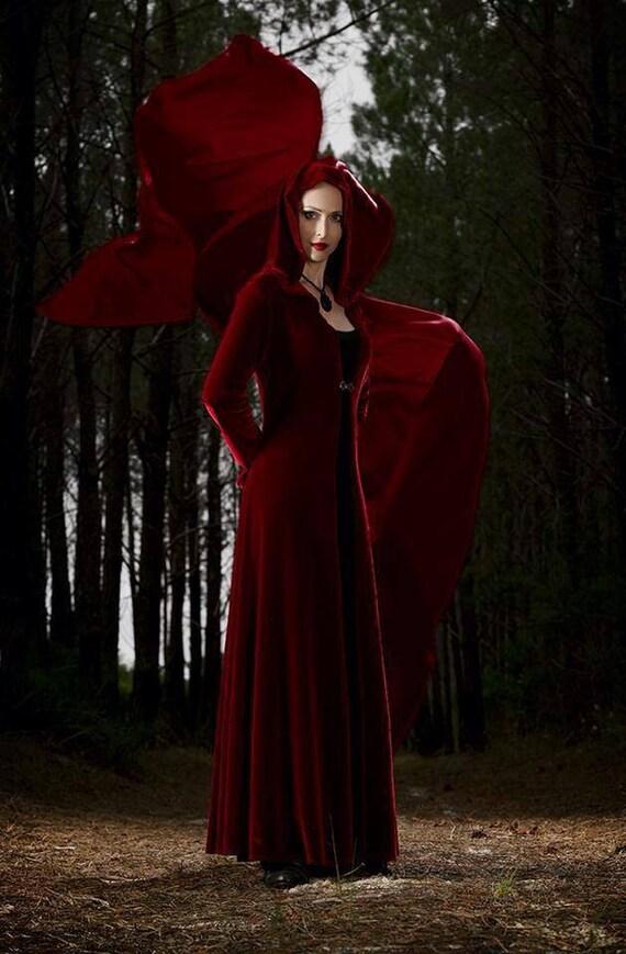Little Red Riding Hood Corset lacing Fairy Steampunk Bellydance velvet cloak/robe wedding