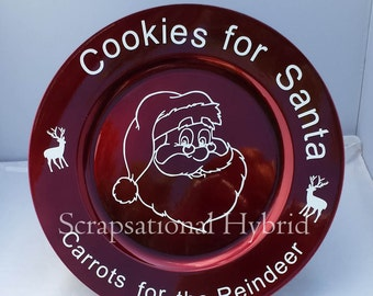 Christmas Charger Plate, Cookies for Santa Plate, Red Charger, Holiday Plate, Winter Serving Platter