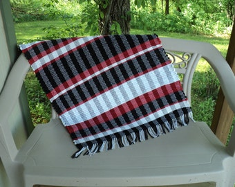 """Red, Black and White Hand Woven Rag Rug 26"""" X 33"""""""