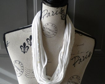 Jersey Scarf Necklace in White with Iridescent Sequins
