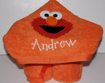 Elmo Hooded Towel - Personalized