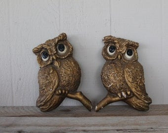 Vintage Large Owl Wall Plaques by Universal Statuary Corp. Chicago 1967