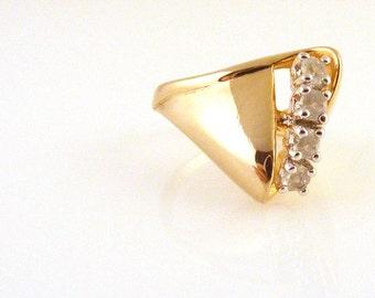 Vintage 14K GE ESPO CZ Ring Faux Diamond Gold Electroplated Statement Sz 6