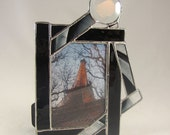 Black and Clear Unique Hand Crafted Stained Glass Table Top Picture Frame with Circle Bevel