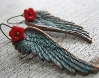 SALE Gorgeous Verdigris Brass Angel Wings And Red glass Earrings