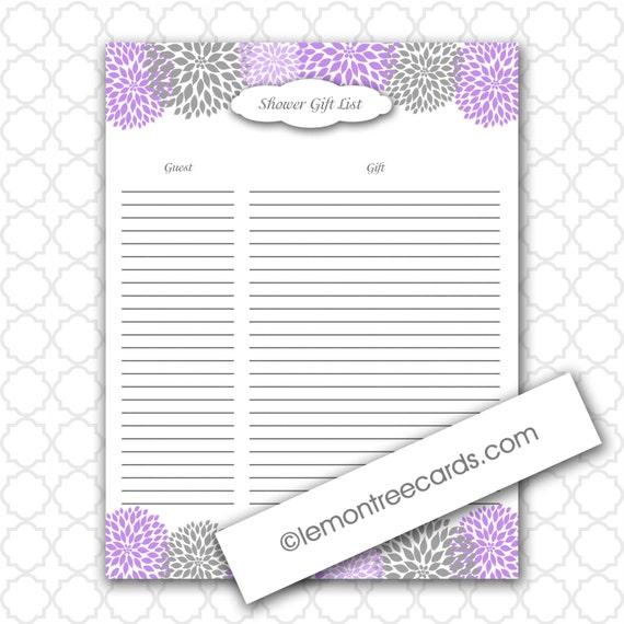 ... file / girl baby shower, printable gift list, purple gray gift list