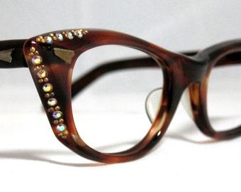 Vintage 60s Cat Eye Glasses. Angular Tortoise CatEyes with Rhinestones