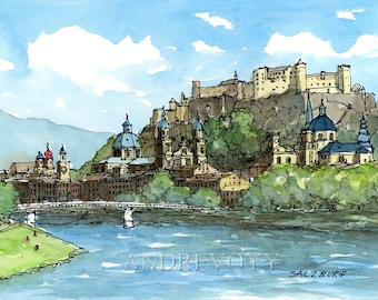Salzburg Austria art print from an original watercolor painting