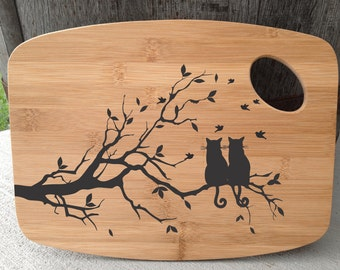 2 cats in tree cutting board laser engraved bamboo