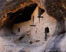 Fine art photograph ancient old Native American pueblo Gila Wilderness Cliff Dwellings New Mexico southwestern decor western earth tones