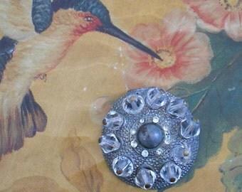 1930's Silver Brass Rhinestone Crystal Beaded Dress Clip
