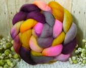 Hand dyed roving top for spinning felting crafting USA wool Summer's End