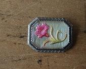 Vintage goofus glass cornflower brooch ∙ BACHELORS BUTTON