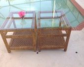 RATTAN SIDE TABLES / Over 2 Feet Long / Hollywood Regency / Palm Beach Chic Cottage Style / On Sale at Retro Daisy Girl