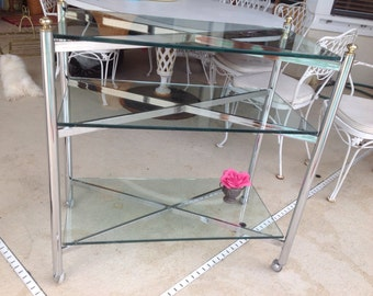 MAISEN JANSEN STYLE Chrome and Brass X Cart / Console Hollywood Regency Style On SALe at Retro Daisy Girl