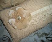 Trio Lavish Vintage Chenille Jeweled,Lace/Silk Flowers Boudoir Lounge Throw Pillows Feminine Pillow Lot