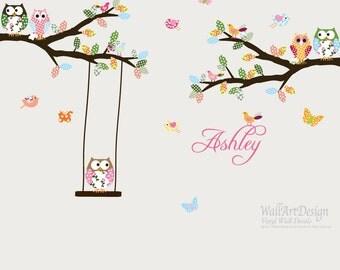 Vinyl Wall Sticker Decal Owls Birds Butterflies Branch Set with swing Custom Name Decal