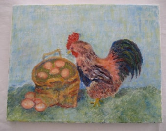 charming original painting of a rooster and a basket of eggs