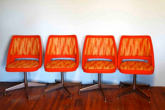 Mid Century Modern Atomic Orange Chairs On Reserve For