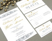 French Baroque Fleur de Lis Wedding Invitation Set by RunkPock Designs   Modern Script Calligraphy Invitation shown in Gray and Gold