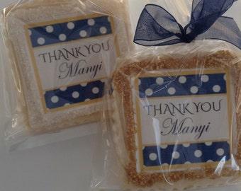 Custom cookies party shower wedding favor navy polka dots