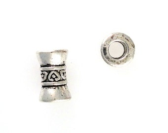 Lead Free Pewter Large Hole Center Detailed Inverted Bicone Bead  (EF11909)