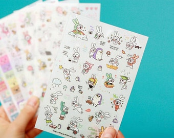 Korea Lovely Glasses Rabbit Transparent Diary Sticker Ver.3 - 6 Sheets