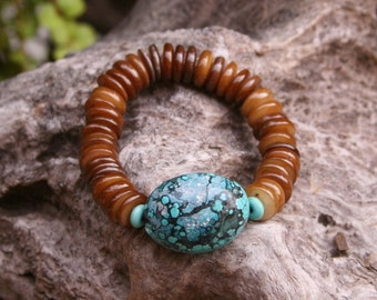 African Turquoise Brown River Shell Bohemian Earthy Rustic Beach Woodland Tribal Stacked Bracelet