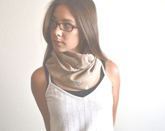 Infinity Scarf Cotton Cowl Scarf Fabric Cowl Scarf Vintage Eco Friendly Fabric Beige Tan