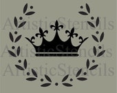 STENCIL Vintage French Crown in Wreath 10 x 8.5