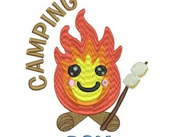 Camping Boy Machine Embroidery Design 3 Sizes