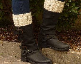 BOOT CUFF / boot topper . Alpaca and Wool blend  ' Buttermilk'  UK seller. ...ready to ship.....