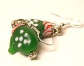Mitten Earrings, Sterling Silver and Artisan Lampwork Glass Christmas Jewelry, Christmas Earrings, Green and Red Winter Gloves, OOAK Beads