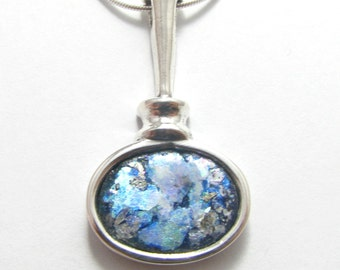 Stunning 925 Sterling Silver Roman Glass Pendant Necklace