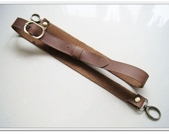 1 pcs 48 inch adjustable brown quality cow leather bag strap purse strap with anti bronze lobster