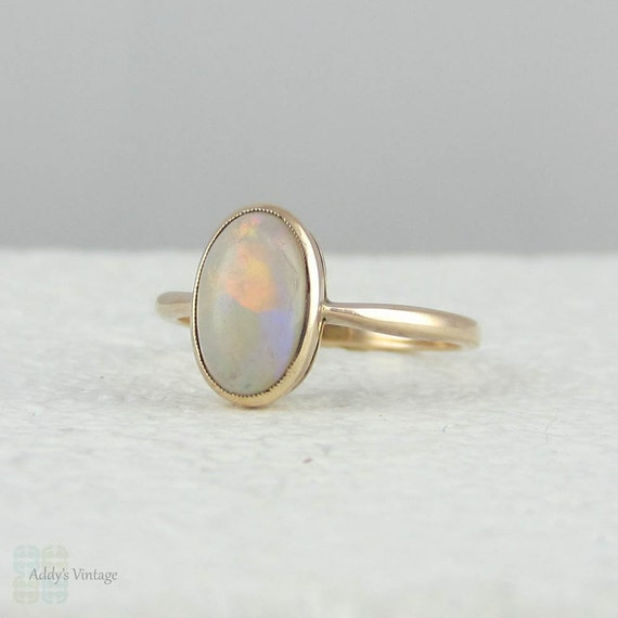 Antique Opal Ring In Rose Gold Bezel Set Oval Opal Circa
