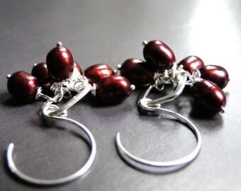 Dangle Earrings, Freshwater Pearl Sterling Silver Hoops, Gift for Her, Pearl Earrings, Holiday Gift, Drop Pearls Earrings, Jewelry, Gift Box