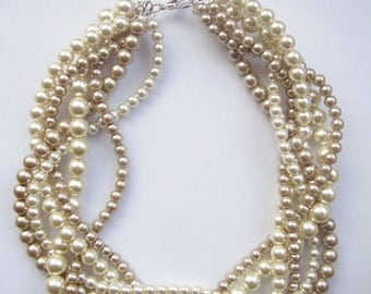 Bridesmaid pearl necklaces custom order necklaces braided twisted chunky statement pearl necklace bridal