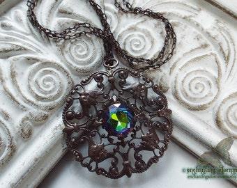 La Sorcière -- The Sorceress Victorian Enchantress Necklace with Vintaj Brass, Vitrail glass stone