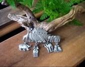 Estate Sale Fresh - Vintage Signed J.J. -  Large Noah's Ark Animal Charms - Silvertone Brooch Pin