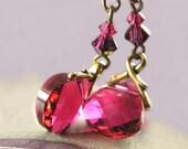 Ruby Pink Earrings Swarovski Red Pink Crystal Earrings Antique Gold Earrings Raspberry Cranberry Pink Earrings